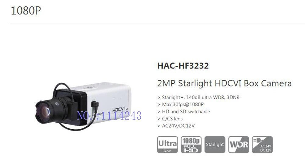 Free Shipping DAHUA CCTV Security Camera 2MP Starlight HDCVI Box Camera Without Logo HAC-HF3232