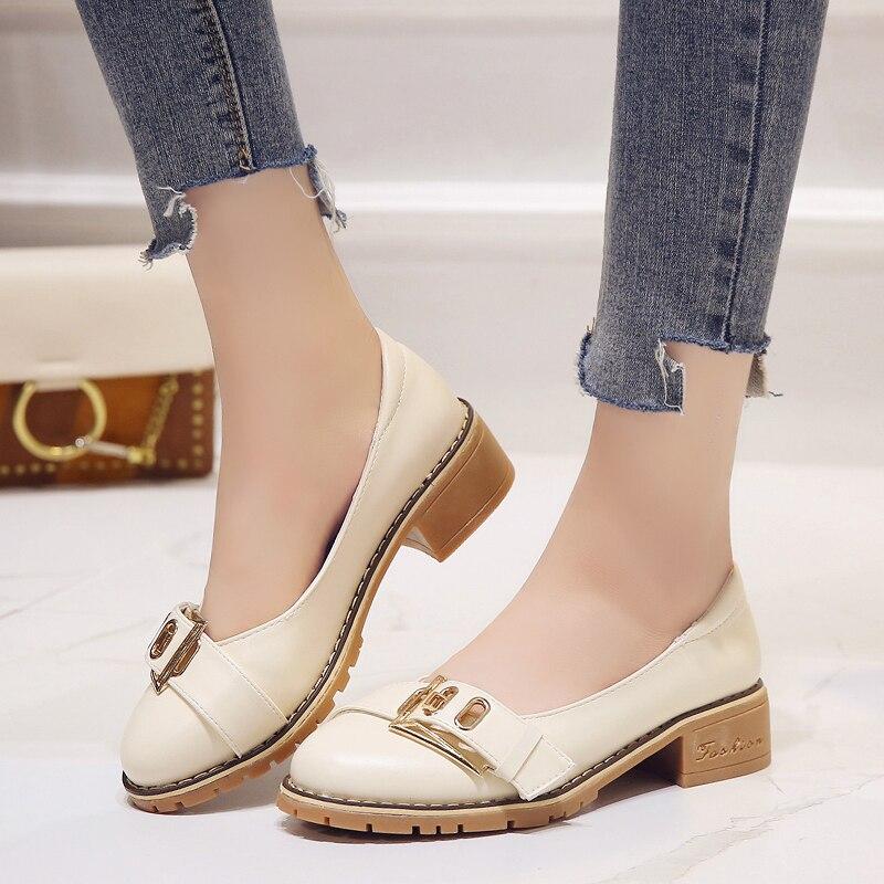 Casual Nouveau Britannique Harajuku Sauvages Avec Coréenne Style 2018 Printemps Femmes Simples Version De La Beige Chaussures qwx5OnA4HY