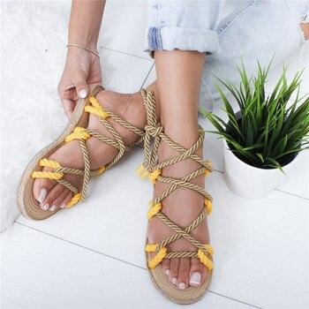 De Mujeres Cuerda Boho 2019 Las Mujer Casuales Sandalias Cáñamo Oeak Cruz Atado Zapatos Roma m0vN8wOn