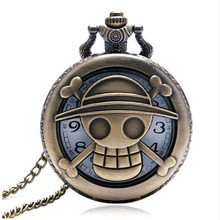 Hollow Pocket Watch One Piece Skull Carving Bronze Quartz Fob Watches With Necklace Chain Men Boy Gift Free Drop Shipping