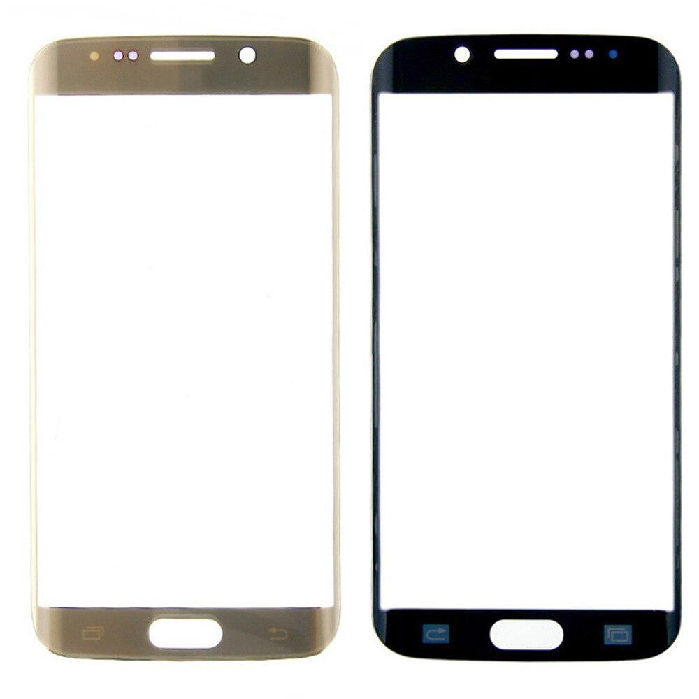 5 unids/lote para Samsung S6 borde G9250 Original LCD del reemplazo de pantalla táctil frontal de vidrio blanco lente negro oro venta al por mayor a prueba de agua