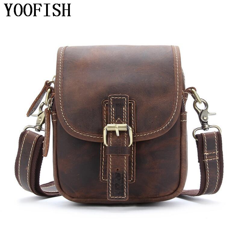 купить YOOFISH Men Genuine Leather Bag men messenger bags briefcase Men's Cowhide Shoulder Crossbody Bag 2017 NEW LJ-833 по цене 4353.2 рублей