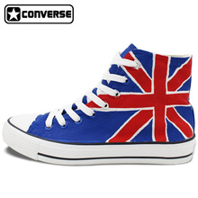 Custom Converse All Star UK British Flag Union Jack Hand Painted Shoes High Top Canvas Sneakers Men Women Christmas Gifts