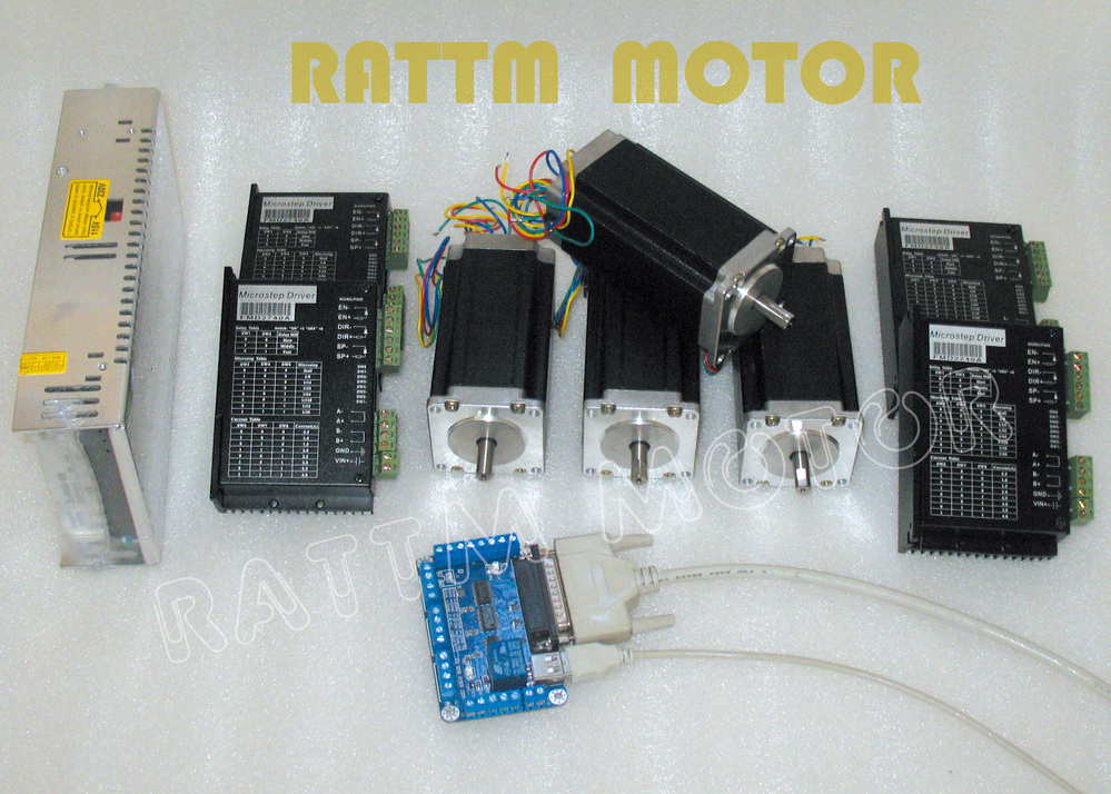 4 axis CNC controller kit, 4PCS Nema23(Dual shaft) CNC stepper motor 112m,425 oz-in,3A +Motor driver 4A,50V,128 microstep driver