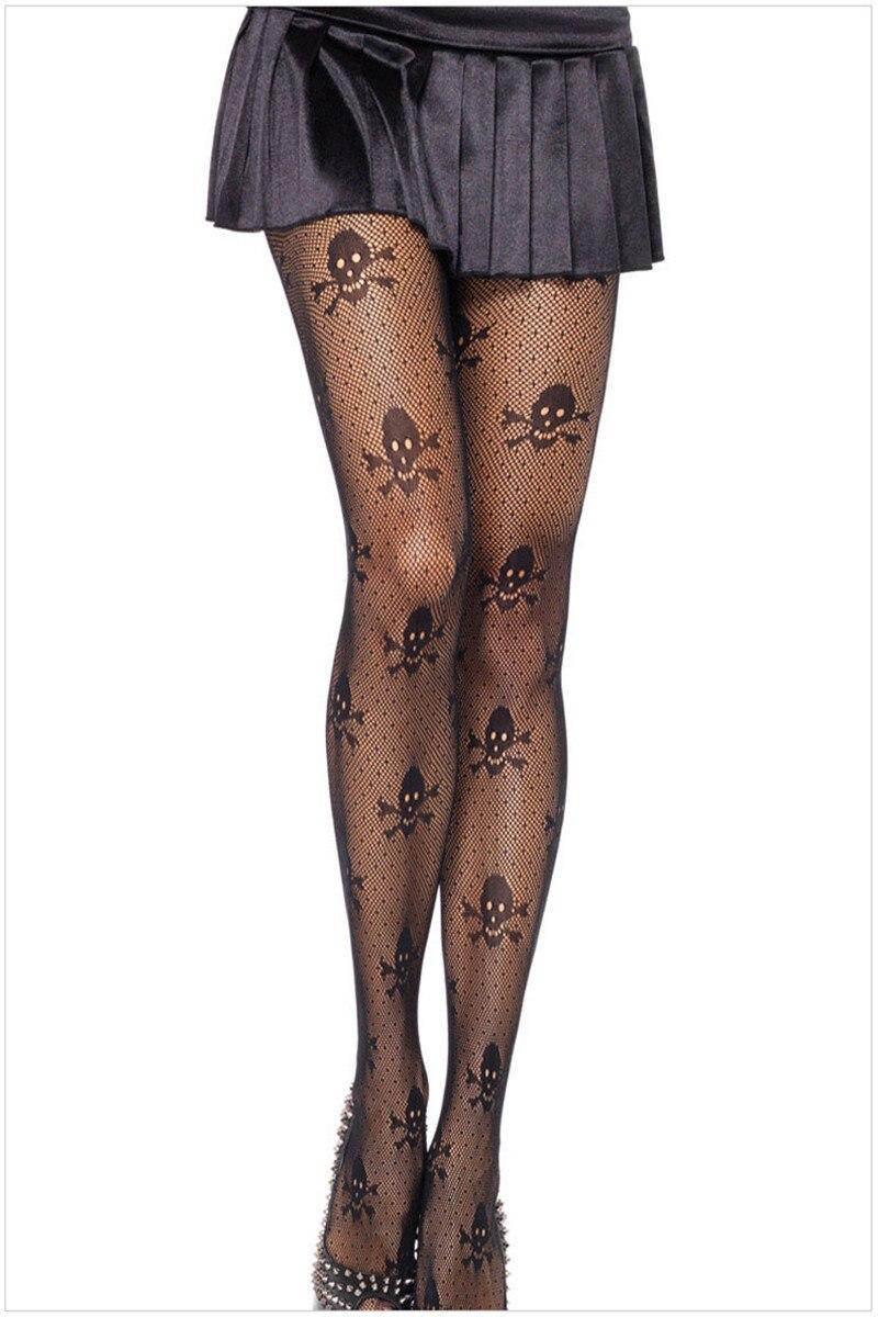Neue Schwarz Dünne Sexy Ausschnitt Schädel Gedruckt Sexy Strumpfhosen Kleid Oben Rock Punk Stil Hohe Qualität Strumpfhosen