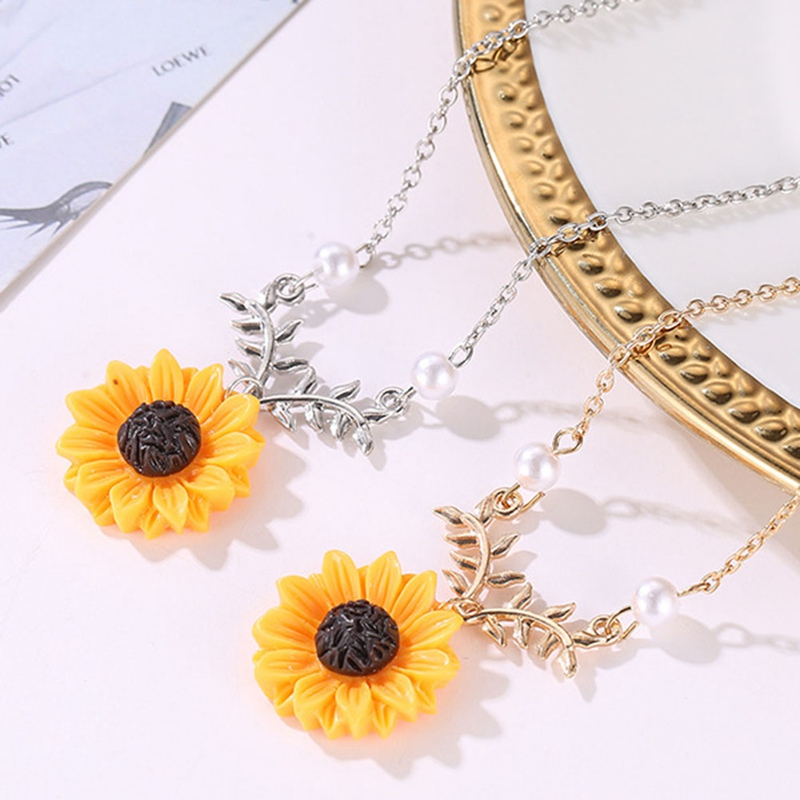 c8bb78416421b New Pendant Clavicle Necklace Cute Sunflower Leaf Branch Gifts Women  Jewelry Birthday Gift Boho Bohemian Accessories Drop Ship
