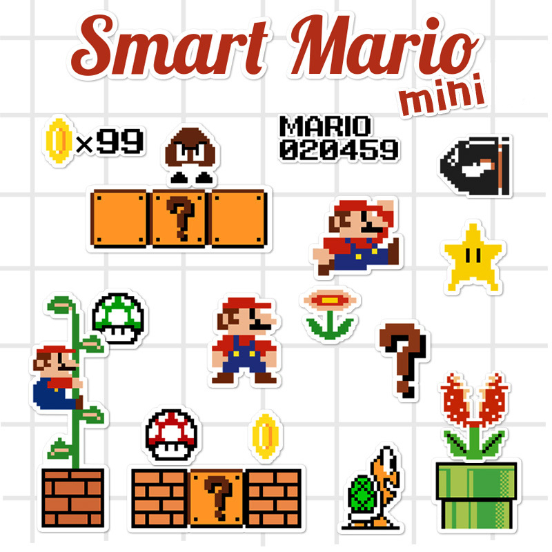 Mini Super Mario Cartoon Game Pixel Style PVC Waterproof Sticker For Phone Ipad Laptop Luggage Skateboard Wall Guitar Stickers