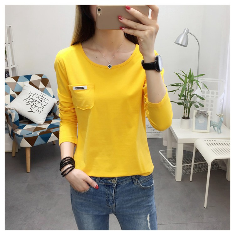 2017 New Autumn Women T-shirt Korean Fashion Pocket Solid Colour Long Sleeve T shirt Vetements Casual Women Tops Roupa Feminina