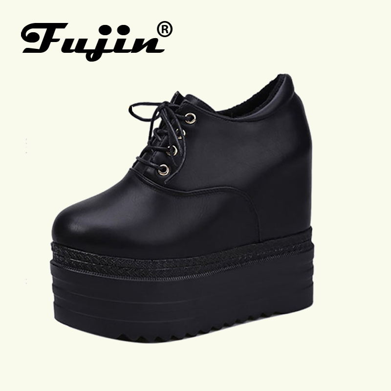 Fujin Brand 2018 New Spring Fall Women Flats Shoes Pu leather Shoes Ladies Casual Loafers Lace Up Lady Shoes Flat Platform Hot women flat platform loafers shoes 2018 new brand women leather casual platform shoes for ladies new fashion flats shoes women