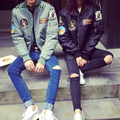 2016 Men Women Bomber Jacket Causal Letters Baseball Spring Pilot Windbreak Couples Jackets Coats Chaquetas Harajuku
