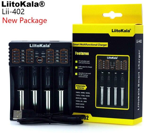 LiitoKala Lii 100 lii 202 Lii 402 1.2 V / 3 V / 3.7 V / 4.25V 18650/26650/18350/16340/18500/AA/AAA NiMH lithium battery charger