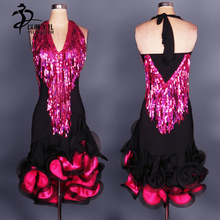 Can Be Customized Latin Dance Dress salsa tango Cha cha Ballroom Competition Sequined Dress