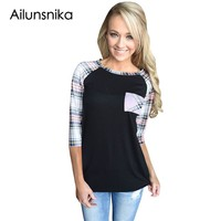 Ailunsinika Casual Plaid Tops For Women Raglan 3 4 Sleeve O Neck Black Red Blue Green