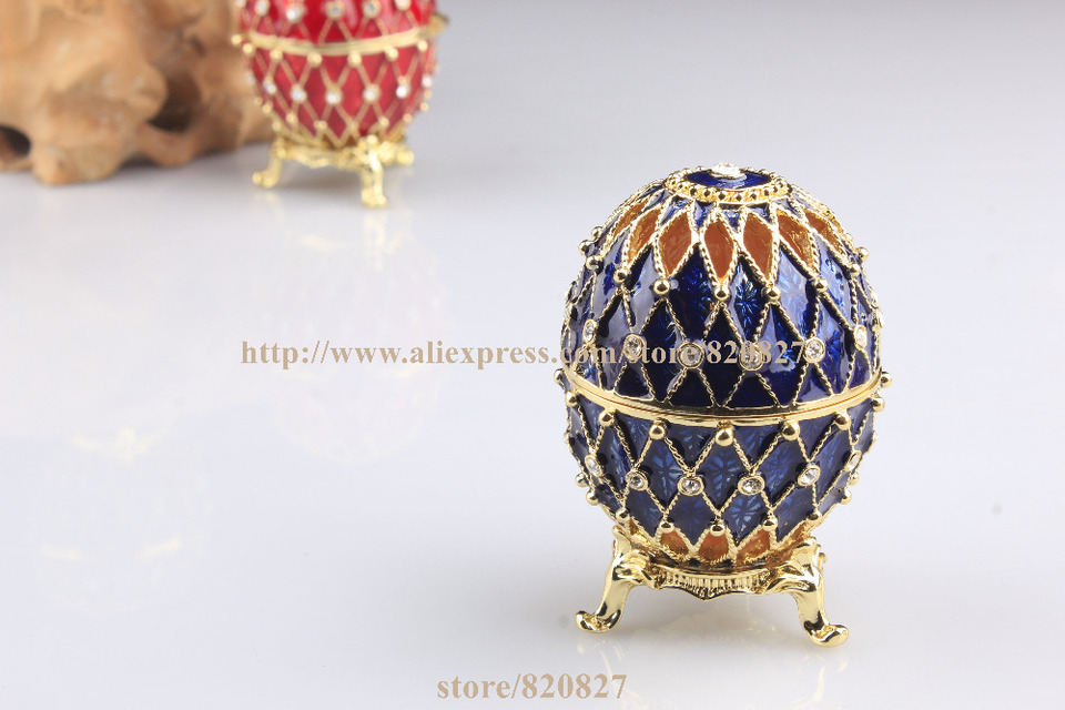 4Pcs Crystal Easter Egg Trinket Boxes Jewelry Organizer Case Candy Storage