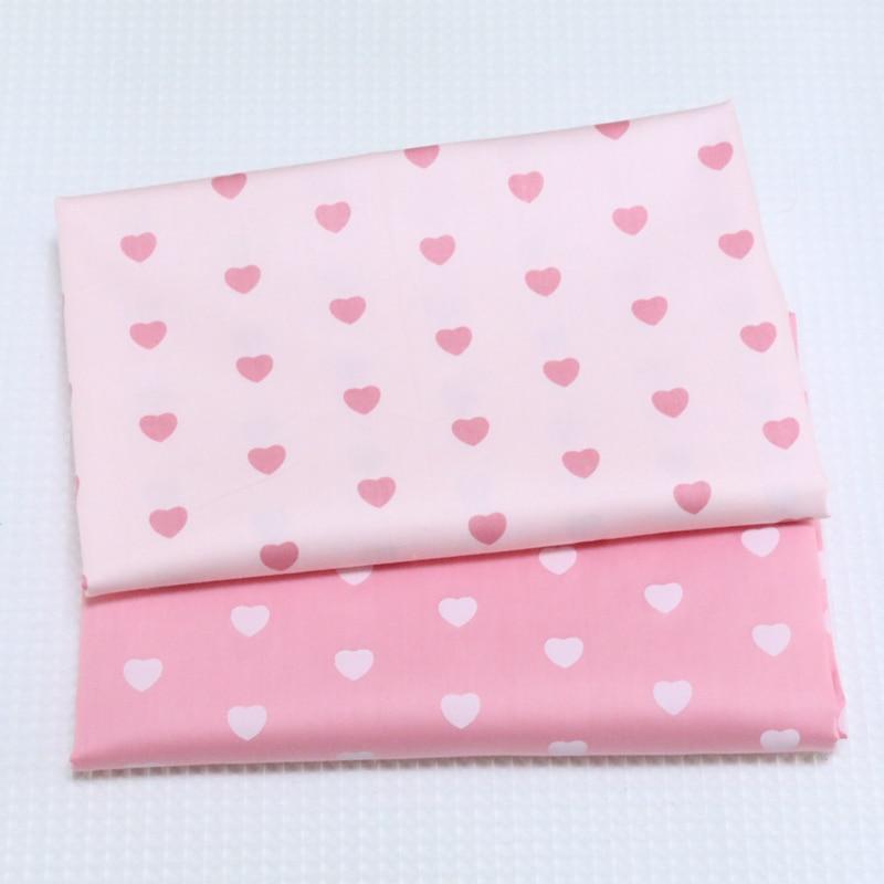 2 Tessuti stampa cuore rosa principessa Tessuto 100% cotone per - Arti, mestieri e cucito