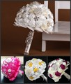 Ручной работы вышивка бисером брошь шелк невеста свадебные свадьба букет невесты европа сша синий белый искусственний цветок обычный