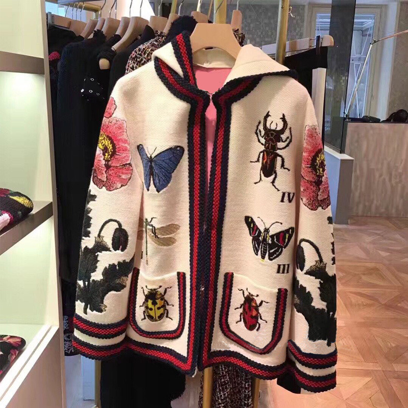 High Quality Embroidery Coat Women Embroidered Butterfly Insect Flowers White Cardigan Jacket with Hooded