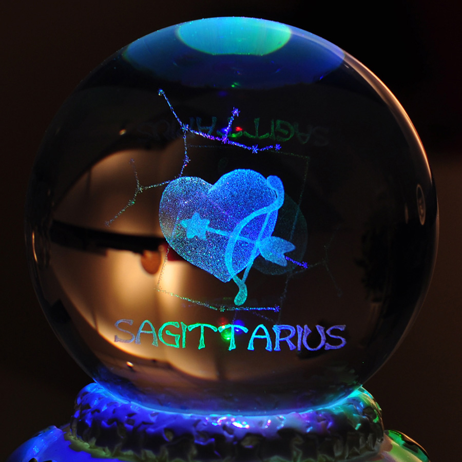 12 Constellation Rotating Crystal Ball Music Box LED Light Musical - Heminredning - Foto 4