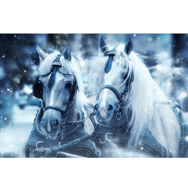 3D Needlework Diy Diamond Painting Snow Horses Diamond Embroidery Full Pasted Decorative Wall Stickers Cross Stitch Crafts ZH