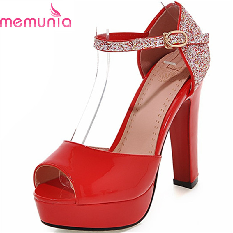 MEMUNIA Summer hot sale women sandals high heels platform shoes simple elegant buckle fashion party shoes bing size 34-43 анна михайлина евгеника