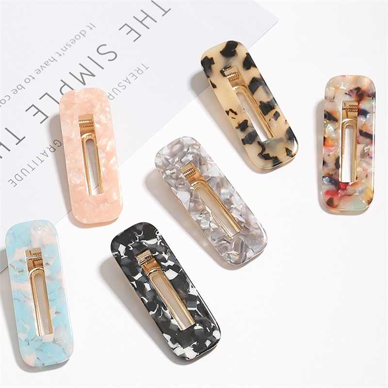 New Korea Hollow Geometric Waterdrop Acrylic Hair Clips Shiny Tin Foil Sequins Hairpins Women Girls Barrettes Hair Accessories