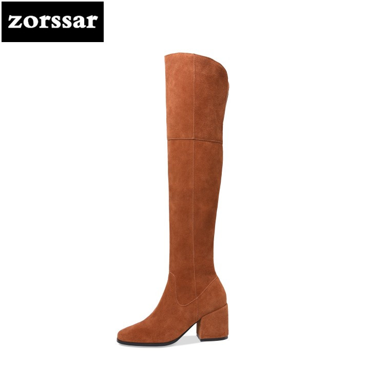 {Zorssar} 2019 New Winter Plush Snow boots Fashion Woman Thigh High Boots Suede Leather Women Over the knee boots High heel black leather thigh high boots women 9cm high heel over the knee boots woman motorcycle boot snow winter boots with fur shoe