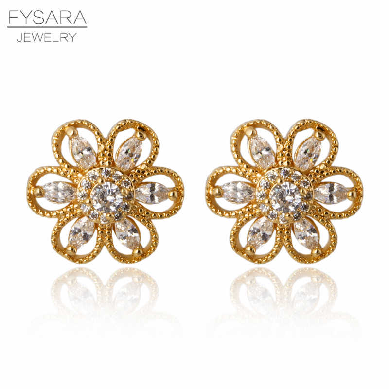 FYSARA AAA Clear Cubic Zirconia Flower Earrings For Women Gold Color Charm Crystals Stud Earrings Wedding Jewelry Factory Price