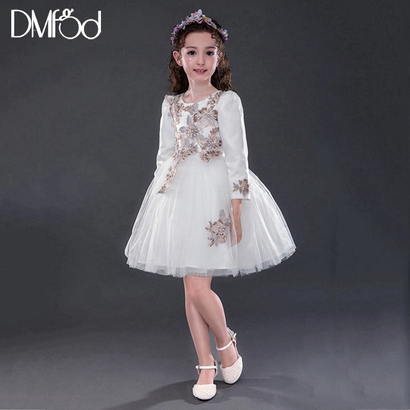 Dresses For Girls Birthday Party Evening Formal Dress 2018 Long Sleeve Appliques First Communion Lace Flower Teenage Dress 8519 long criss cross open back formal party dress