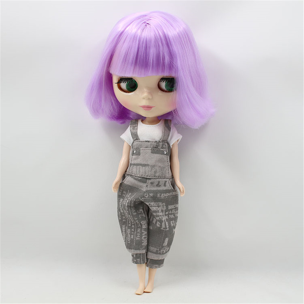 Blyth Nude Dolls Light Purple Short Hair With Bangs 4 Colors Big Eyes Suitable DIY Face Makeup Fashion Doll Toys blyth nude doll joint body with long wavy white hair 4 colors big eyes 1 6 bjd blyth dolls suitable diy makeup toys