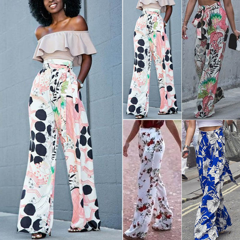 Casual Spring Summer Women Lady   Wide     Leg     Pants   Flowers Printing Elastic High Waist Loose Trousers FS99