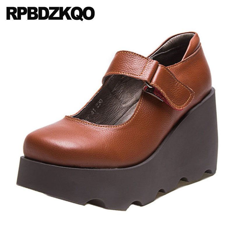 797a2c93229 genuine leather pumps platform wedge shoes size 33 8cm black 4 34 strap  high heels 2018 round toe quality women brown customized