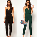 Autumn Winter V-neck Women Halter Jumpsuits Sleeveless High Waist Wrapped Chest Backless Rompers combinaison femme Green Black