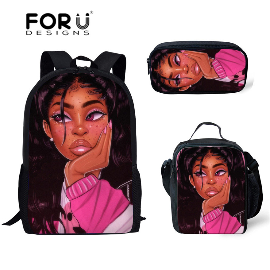 FORUDESIGNS School-Backpack Book-Bag Black African-Girl Kids Children Printing Art 3pcs/Set