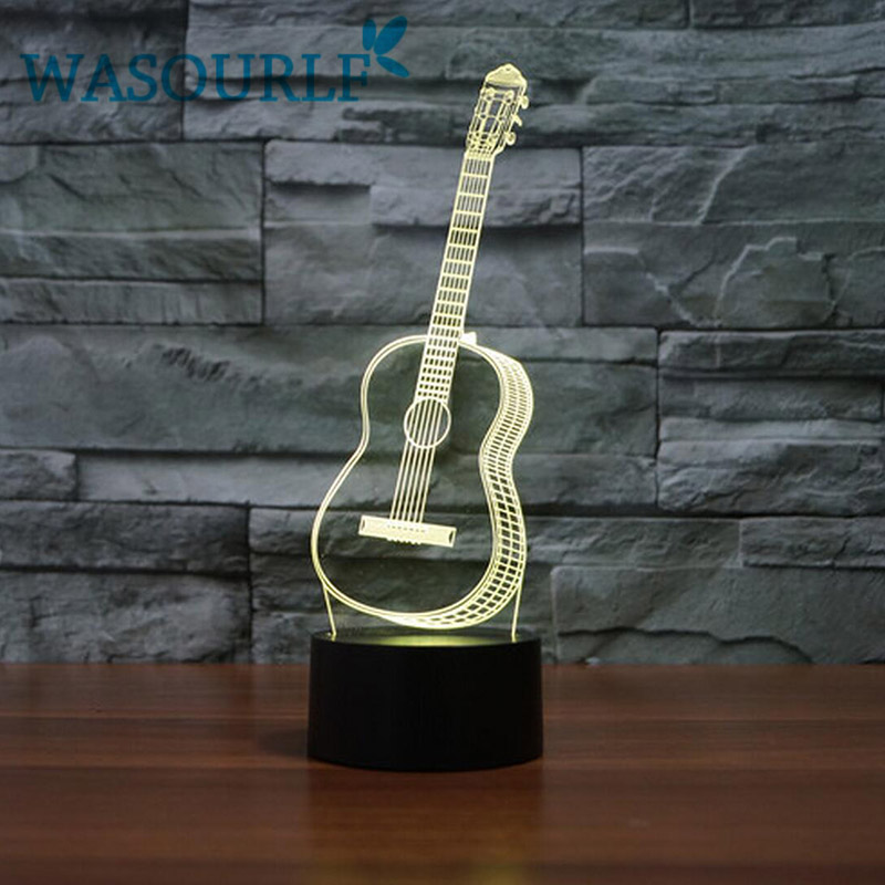 3D acrylic guitar night light lamp charging <font><b>luna</b></font> light best christmas birthday gift round light free shipping image