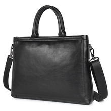 100% Genuine Leather Mens Handbag Portfolio Male Bag Full Grain Natural Black Laptop 7404A