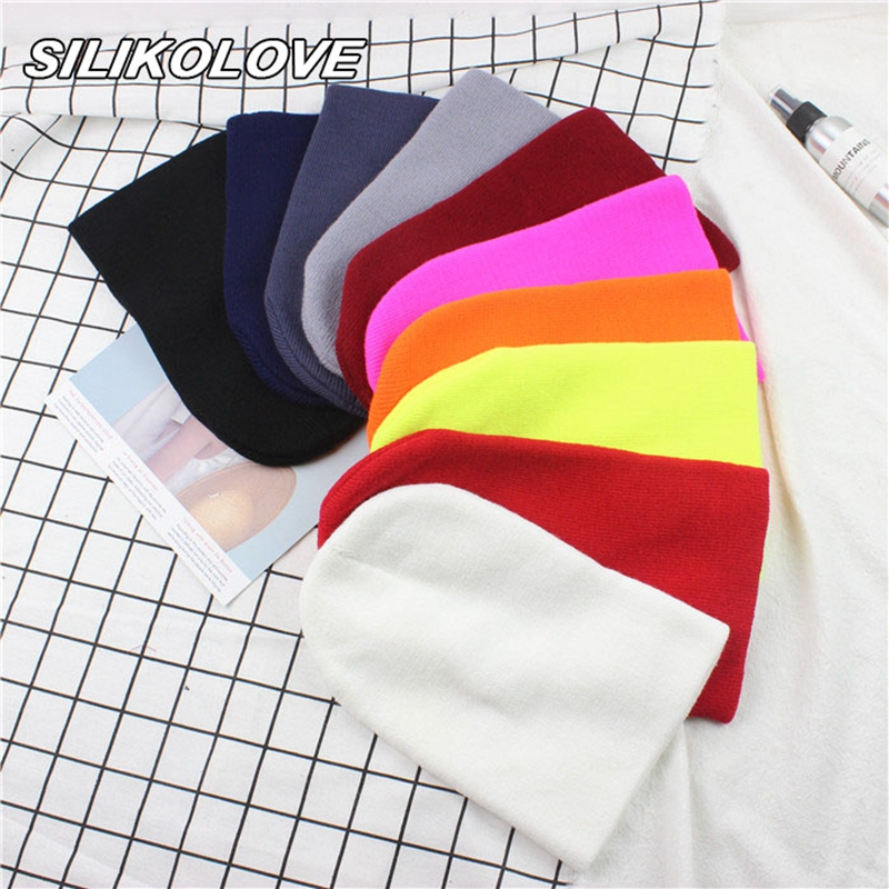 New 2019 Solid Color Warm Women's Winter Hats for Women Men Cotton knitted hat   beanie   Wholesale
