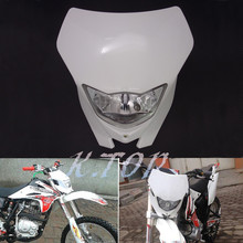 New Motorcycle White H4 Plastic Front Headlight Fairing For Dual Sport Dirtbike Off Road Motocross Street Supermoto