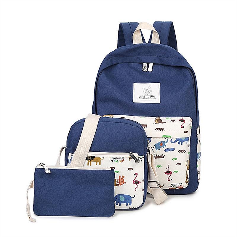 3 in 1 Sets girl Fresh Women Backpacks Nylon School Bags Animal Zoo Printing Backpack For