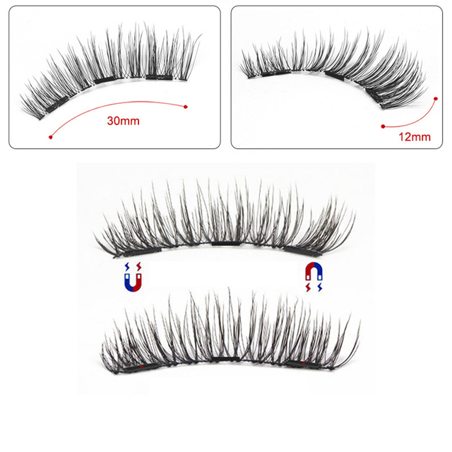 Magnetic eyelashes with 3 magnets handmade 3D/6D magnetic lashes natural false eyelashes magnet lashes with gift box-24P-3 5