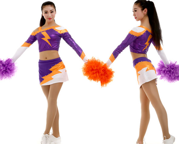 0105b6f51cd Professional Cheerleader Uniform Lycra Performance Sport Outfit Adult Kid  Costume Pom pom Hairbow 5 Sets