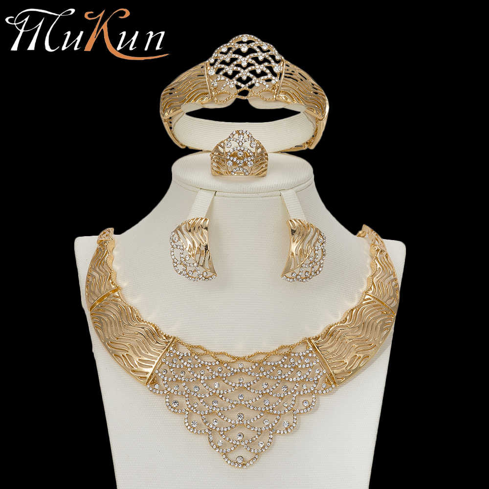 MuKun trendy Dubai gold jewelry sets for women crystal Earrings Nigerian Beads Necklace jewelry set for Wedding Fashion jewelry