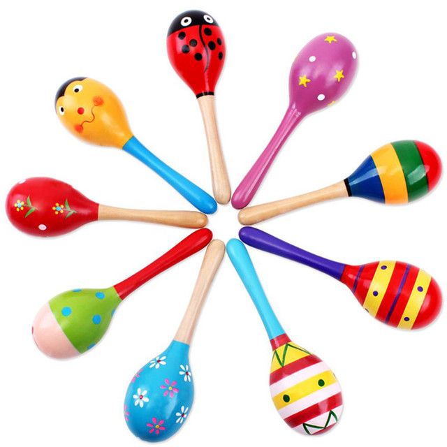 1PCS Colorful Baby Rattle Mobiles Wooden Ball Toy Sand Hammer Hand Rattles Kids Musical Instrument Percussion Toy YLT01 1