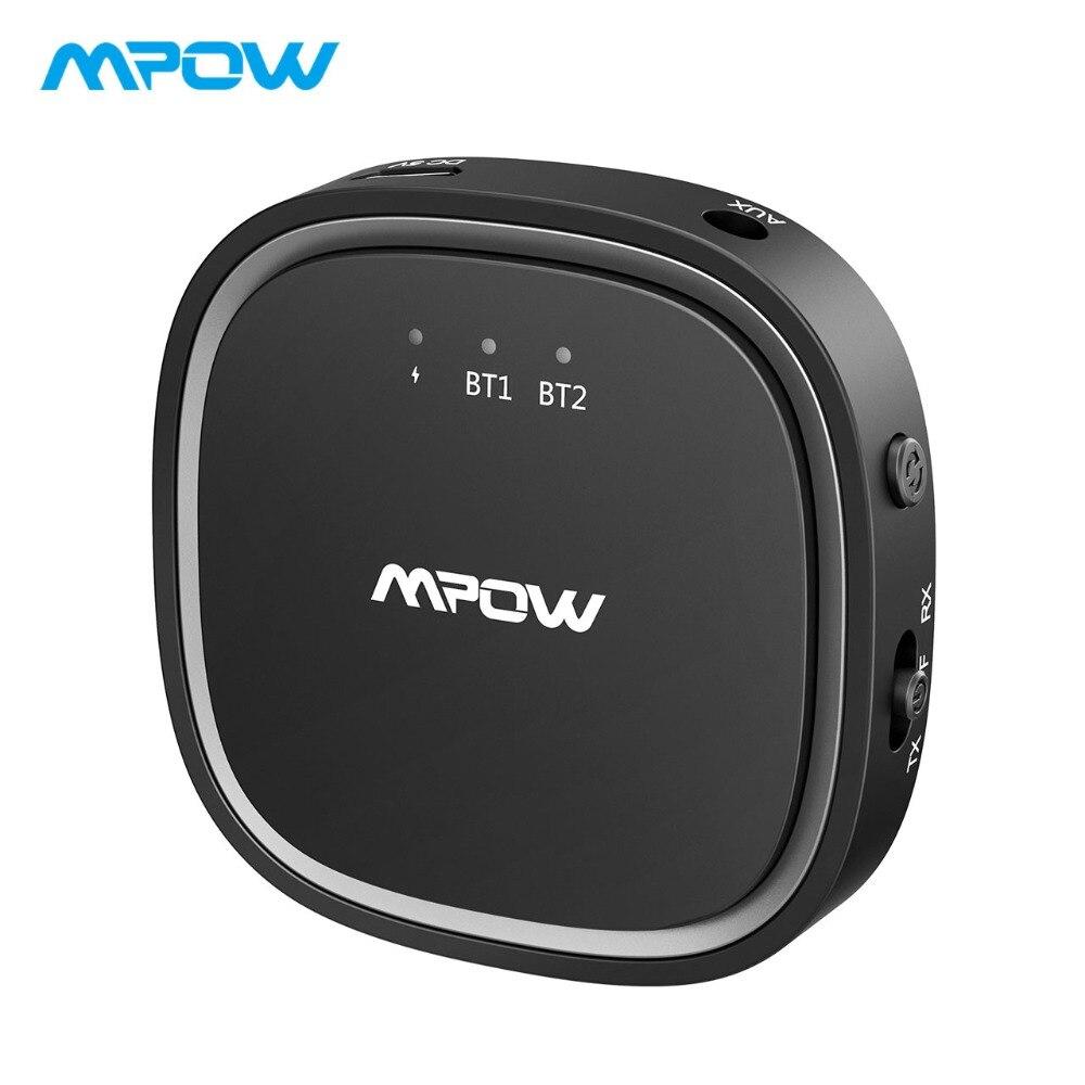 Emetteur récepteur Mpow Bluetooth 5.0 APTX/APTX LL/APTX HD adaptateur sans fil avec câble auxiliaire 3.5mm pour TV/maison/voiture/casque