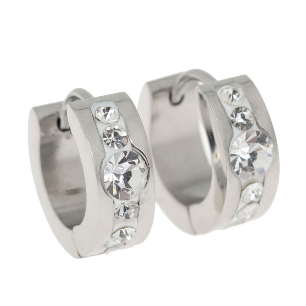 1 Pair Punk Mens Womens 316L Stainless Steel Ear Hoop with Rhinestone Non-piercing Clip Earrings Gold/ Silver
