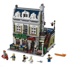 2418PCS new Creator Expert City Street Parisian Restaurant Model Building Kits Block Toy Compatible 10243 toy for kids