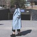 Wm006 nova chegada da primavera 2016 luz azul breve de grandes dimensões mulheres trench coat solto longo denim jacket