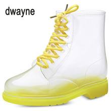 2018 Women Rain Boots Transparent Waterproof Colorful Spring Autumn Shoes Rain Boot Woman Ankle Boots Boots Women(China)
