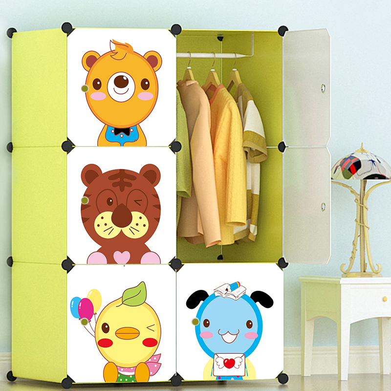 Cartoon door Freestanding Plastic folding cupboard baby wardrobe cupboard baby Dust seal wardrobe for clothes env