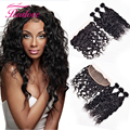 Realove Ear To Ear Lace Frontal Closure with Bundles Brazilian Water Wave Virgin Hair With Closure 100% Human Hair Wet And Wavy
