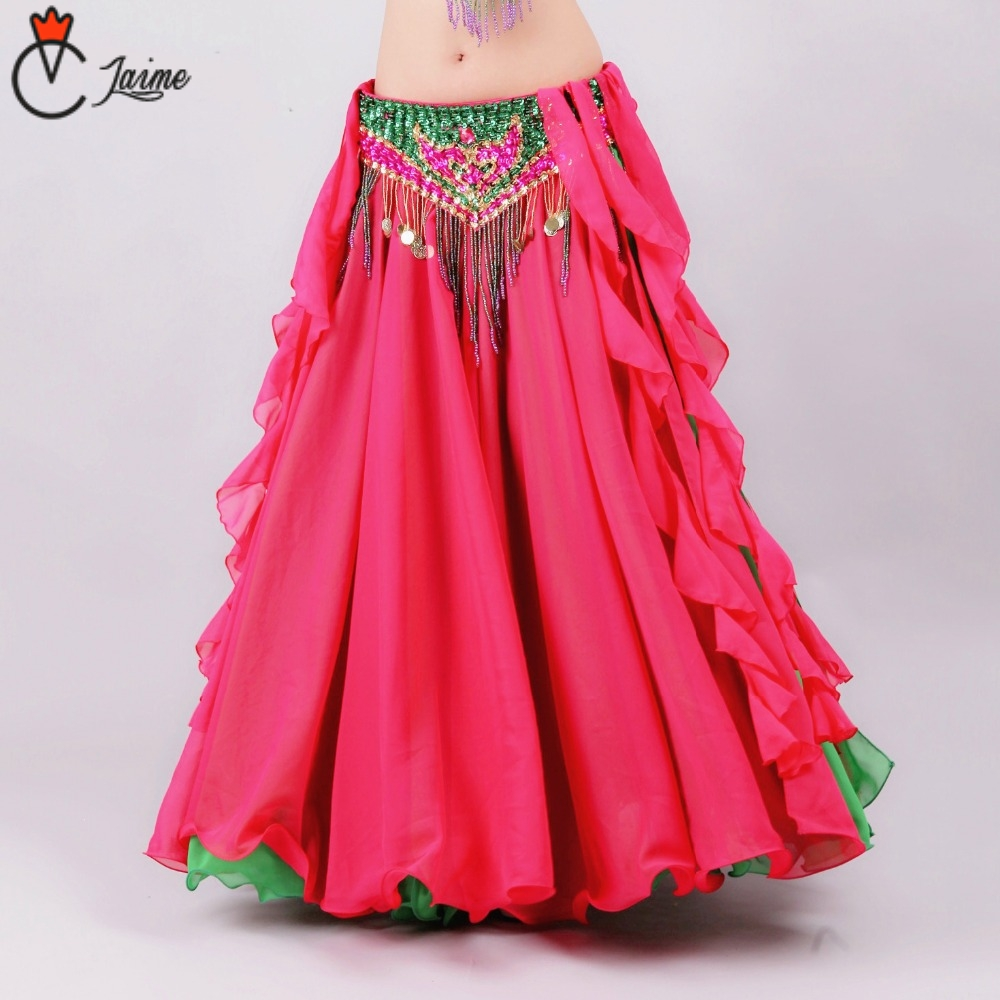 Double Colors Women Belly Dancing Clothes Full Circle Maxi Skirt Side Split Long Skirt Belly Dance Skirt White Dresses Clothes